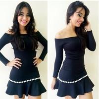 vestidos 2014 women dress new personality scallop charm collar long sleeve winter dress neck black dress a wonderful