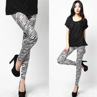 New High Waist Patterned Stripe Fitness Brand White Zebra Stripe Rayon Leggings For Women 2014 leggings L033526