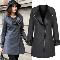 L-5XL Plus Size Big Size Victoria Coat Leather Patchwork Wide Lapel Long Slim Suit Coat Women Jacket Coat