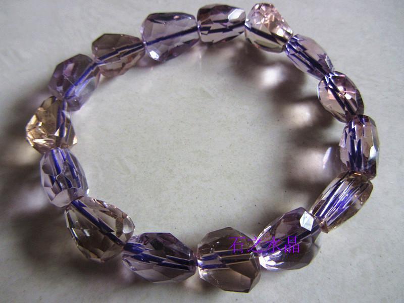 Genuine natural crystal bracelet natural Ametrine unshaped stone bracelet bracelet faceted wealth(China (Mainland))