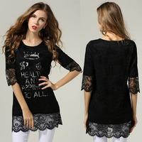 Black Lace Dress Women Half Sleeved Plus Size M-5XL Renda Vestidos #SN1153