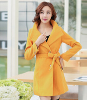 fourrure Fall and winter clothes new Korean version of Slim Girls long woolen coat was thin cashmere coat Nizi