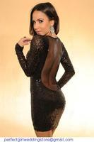 New roupas femininos plus Size Dress Women Winter Sexy Long Sleeve Sizzling Black Sequin Bodycon Party Dress vestido de festa