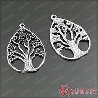 (28895)Diy Jewelry Accessories,Vintage Charms & Pendant 48*33MM Antique Silver Alloy Drop shape Tree 10PCS