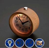 Bangor Novelty Handmade Small Round Lazy Snooze Bedside Wood Alarm Clock With Nightlight
