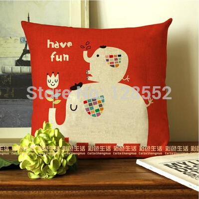 45 * 45 cm algodão e linho cão dos desenhos animados elefante criativa decoração para sofá escritório almofadas carro travesseiro presentes para nova(China (Mainland))