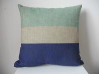"New Vintage Cotton Linen Square Throw Pillow Case Sofa Cushion Cover  pillowcase Shell Light Green Dark Blue Stripe18"""