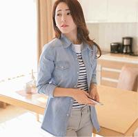 Autumn 2014 new European and American retro nostalgia washed gradient female models long-sleeved denim shirt denim shirt