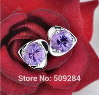 925 Sterling Silver AMETHYST HEART Stud Earrings Crystal Ear Ring Stud Fashion Jewelry Girls Women