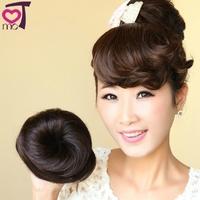 Hair bun Chignon Fake hair bun Buds head hair Clip on Fashion Girl Black Brown Female Studio dtjf104