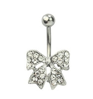 A023-1  Free Shipping  stainless steel rhinestone bowknot body piercing navel belly ring jewelry