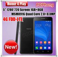 Huawei Honor 4 Play 5.0 inch 1GB RAM 4G LTE Android Smartphone Qualcomm Quad Core MSM8916 Dual SIM Card