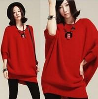 2014 Autumn new Korean version of Women loose bat cuff head Crewneck cardigan sweater large size Women sweater