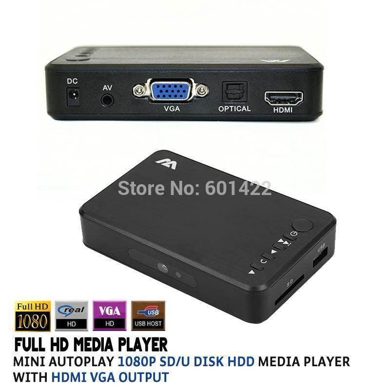MINI Full 1080P HD Multi Media Player TV BOX 3 outputs HDMI/VGA/AV USB & SD card With Remote Control(China (Mainland))