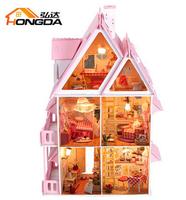 Sunshine Dollhouse assembly doll house Dollhouse Miniature Building Model Making toys Children
