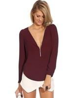 Fashion Women's Long Sleeve V Neck chiffon shirt  2014112504