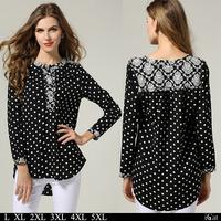 Polka Dot Chiffon Blouse Plus Size Clothing Women Vintage Floral Pattern Print Henley Shirt Long Sleeve M-5XL #SN1175