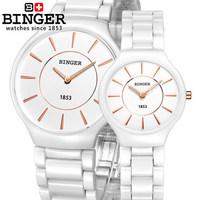 AliExpress Hot selling Binger brand Wristwatches  male female Rose Gold couple ceramic waterproof watches women's fashion watch