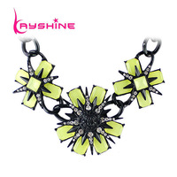 Highly Recommend Luxury Bijuterias Three Color Alloy Rhinestone Flower Collar Necklace
