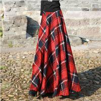 2015 England style ladies' winter long skirt high waist wool skirt plus size women's autumn winter plaid maxi skirt
