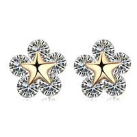 new brand design fashion woman sell well 18K gold earrings OL Star Flower CZ Earrings 109743