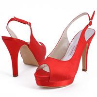 "Red  Women   Sandals Of  Bride EP11069-IPF  4.5"" Cone Heel Satin Euro 39/US 8  Platforms  Wedding   Shoes"