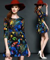 New 2015 fashion vintage casual dress women slim pleated printed fish top grade Dresses three quarters sleeve O-neck vestidos