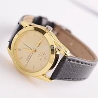 Women business quartz watch round yellow dial high quality PU leather wristwatch lady jewelry accessories