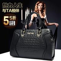First layer of cowhide women's handbag fashion genuine leather for Crocodile one shoulder cross-body handbag large bag