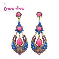 Bohemian Earrings Brincos Femininos For Women Colorful Rhinestone Pendientes Largos  Earrings  New Fashion