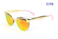 2015 Unisex Geek Eyebrow mirrored Sunglasses Fashion Designer Sun Glasses Vintage stylist Gafas oculos de sol lunette Free ship