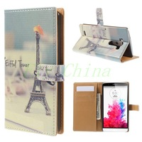 For LG G3 Leather Case Eiffel Tower & Mustache Leather Wallet Stand Case for LG G3 D850 D855 D851 Free Shipping+Tracking Number