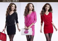 autumn ol slim hip elegant V-neck pleated knitted sweater dress long-sleeve basic winter one-piece dress Free shipping