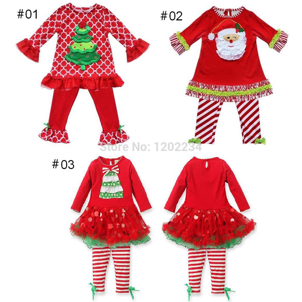 Baby Girls Clothing Sets Kid CHRISTMAS CANDY CANE Top Pettiskirt Tutu Dress+Leggings Outfit(China (Mainland))