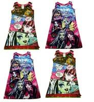 kids brand Cartoon girls monster high monster.high Dress Retail 1pcs girl dresses cotton casual christmas toddlers dress clothes
