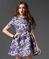 Top sale 2015 Summer early Autumn fashion casual dress short sleeve printed butterfly high waist pleated high grade vestidos