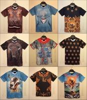 2015 Newest fashion Unisex t shirts mens t-shirts women tshirts 3D cow Horse animal print tee tops