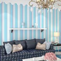 Singh wallpaper non-woven blue vertical stripe wallpaper living room tv wall