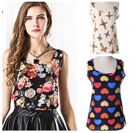 2014 plus size verão mulheres roupas sem mangas chiffon mulheres blusa doce cor causal chiffon blusa camisa mulheres grandes estaleiros(China (Mainland))