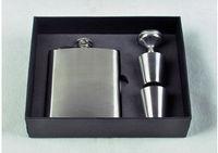 2015 Hip Flask 7oz Set Portable Stainless Steel Flagon Wine Bottle Gift Box Pocket Flask Free Shipping