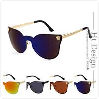 2015 Women Brand Designer Luxury Retro Sunglasses Vintage Rimless Cat Eye Sun glasses Eyeglasses For Men High Quality With LOGO