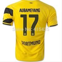 A+++ Thailand Quality 14/15 Borussia Dortmund Soccer Shirt 2014 free Custom REUS#11 AUBAMEYANG#17 Football Uniform