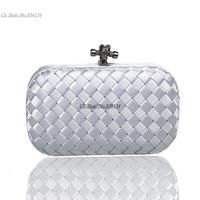 Cii Ribbon knit sheath ladies evening bag women Knot clutch handbag wholesale new fashion 6 colors to choose