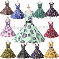 Grace Karin 2015 Women Cotton Print Pattern Hepburn Rockabilly 50s 60s Vintage Retro Swing Pinup Prom Summer vestidos Dress 6292