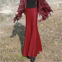2015 England style long wool skirt women's trumpet skirt high waist all-match maxi skirt 4 colors female autumn winter skirt