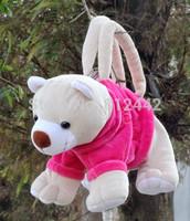New Novelty 20cm Birthday Gift For Girl School Supplies Kawaii Cute Stationery Plush Pink Bear Pencil Bag Animal Shaped Pen Case