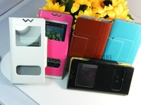 newest! 5 color  double windows  flip PU  Leather case for Lenovo a369i  Bag Cover +free ship