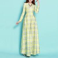 2015 New fashion long wool dress O-neck long sleeve slim floor-length dress plus size elegant women's vintage maxi dress