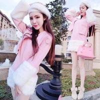 * Panda * 2014 Korean winter spell plush fur jacket dress two-piece skirt +