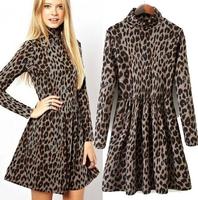New 2015 Spring Autumn European fashion Sexy Leopard printed slim turtleneck high waist pleated dress for women casual vestidos